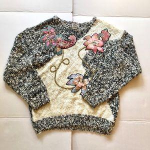 Vintage Embellished Chunky Sweater